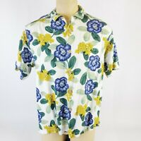 Tommy Bahama Mens Polo Shirt Size L Short Sleeve Hawaiian Floral Print White EUC