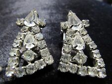 La Rel vtg Crystal Rhinestone Estate High End Ear Rings Earrings Jewelry Clip