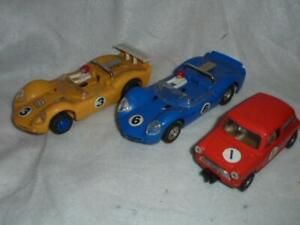 3 VINTAGE SCALEXTRIC CARS - JAVELINS - AUSTIN MINI COOPER