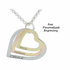 3 Heart Tri-Colour Pendant Necklace Rose Gold Silver Personalised Name