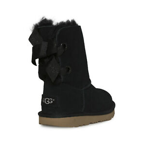 UGG CUSTOMIZABLE BAILEY BOW II BLACK LEATHER TODDLER/YOUTH BOOTS SIZE US 4 NEW