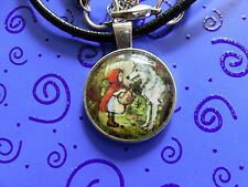 "Red Riding Hood w/Wolf Glass Dome Cameo Pendant 18-20"" Black Leather Necklace"