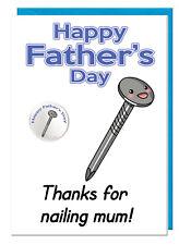HUMOUR grossier blague Papa Beau-Père fête des pères CARTE & BADGE - Merci pour