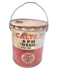 Original 1940's Old Vintage Antique Very Rare Caltex Oil Big Tin Bucket / Gallon