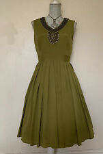 Ellen Tracy Ladies Dark Lime Green Soft  Pleated Beaded Dress Size 10.