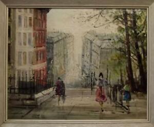 Fine MID CENTURY French Impressionist MONTMARTRE Paris Street Oil Painting
