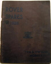 Rover P2 10 & 12 Original Factory issued illustrated Spare Parts List 1938