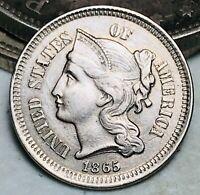 1865 Three Cent Nickel Piece 3C High Grade Civil War Date US Type Coin CC6540