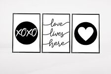 Set of 3 Love Lives Here Bedroom Hearts Home Quote Wall Art Prints Black & White