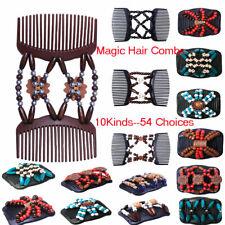 Easy Magic Wood Beads Double Hair Comb Clip Elastic Women Hair Accessories 4H