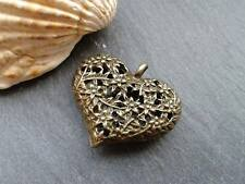 Antique Bronze Flower Hollow Heart Pendant 1pc Steampunk Kitsch charm Vintage