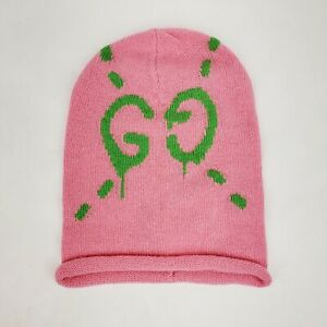Gucci Pink Wool Beanie Hat with Lime Green Ghost GG M/57 455975 5866