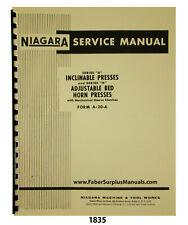 Niagara Series A Inclinable Press & H Adjustable Horn Press Service Manual #1835