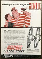 1961 Hastings Piston Rings Print Ad Gentle on Cyclinder Walls