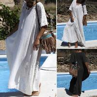 UK Womens Summer Short Sleeve V Neck Beach Long Dress Loose Kaftan Maxi Dresses