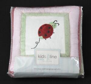 Kids Line Kidsline Lady Bug Ladybug Wall Hangings Fabric Decor Set of 5 EUC