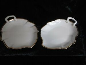 TWO BING AND GRONDAL LEAF SHAPED SERVING DISHES