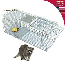"Steel Animal Trap 32""x12.5""x12 34; Large Cage Spring Loaded Pests Rodents Humane"