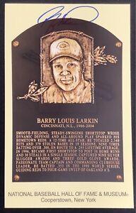 Barry Larkin Signed Gold HOF Plaque Postcard Yellow Cincinnati Red Autograph JSA
