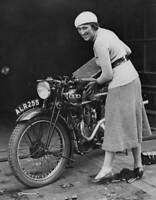 OLD PHOTO English Motorcycle Racer Marjorie Cottle Prepares Her Machine