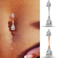 Navel Belly Button Ring Barbell Rhinestone Crystal Drop Piercing Body Jewelry