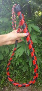 3ft Leather Bull Whip Red/Black Plaited Horse Training Flogger Short Whip