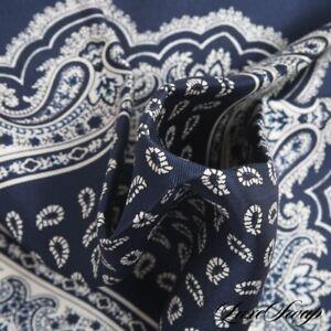 NWOT Made Italy 100% Silk Navy Layout Bandana Paisley Hand Rolled Pocket Square