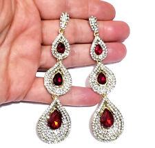 Chandelier Earring Red Rhinestone Crystal 3.8 in