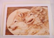 "Vintage ORIGINAL Art by SHARON BECHTOLD Wood Burned Pyrography WOLVES ""Signed"""