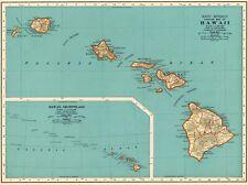1937 Antique HAWAII State Map Vintage Map of Hawaii Hawaiian Islands Map 8097