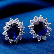 Real White Gold Plated Blue CZ Gems Luxury Design Fashion Stud Earrings X0260