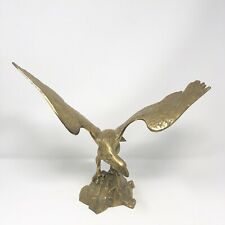 "Vintage Large Brass Eagle Bird Figurine Statue 15"" Wingspan"