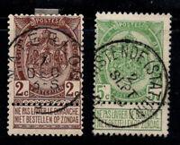 Belgien 1907 Mi. 79-80 Gestempelt 100% das Wappen