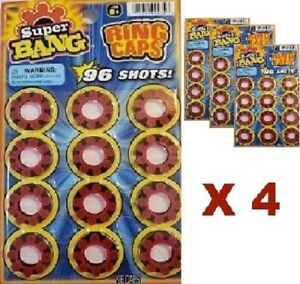 4 PACKS 384 TOTAL SHOTS - HIGH QUALITY 8 Ring Caps - FAST FREE SHIPPING !!