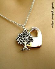 Silver & Rose Gold Tree Of Life Love Heart Pendant Necklace 56cm Gift