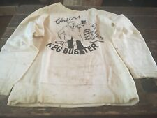 More details for unique camra bill tidy 'keg buster' signed cartoon on sweatshirt 1970s size m
