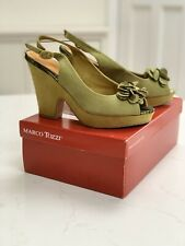 Marco Tozzi Lime Green Suede Peeptoe Slingback Heels With Flower Detail Size 6