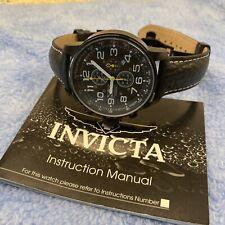 Invicta Lefty Chronograph Black Dial Black Leather Men's Watch 3332 46mm Quartz