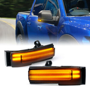 Xprite LED Side Mirror Lights Turn Signal Smoke for 2015-2020 Ford F-150 Trucks