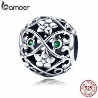 BAMOER S925 Sterling Silver Hollow Charm Love With Green CZ Fit bracelet Jewelry