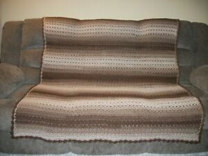 New Handmade Crochet Afghan Throw Blanket Large 62 x 54 Earth Tones Brown Tan