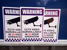 3 PK Warning CCTV Security Video Surveillance Camera 200x300mm CORFLUTE SIGN