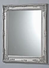 Wall Mirror Baroque Silver 82 x 62cm Antique Wood Frame NEW