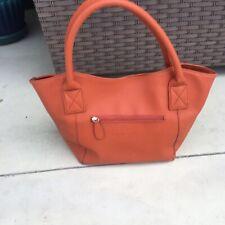 Louen Hide pumpkin color textured leather large Tote Shoulder bag