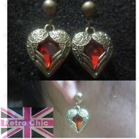 RETRO WING HEART red rhinestone ANTIQUE BRASS earrings VINTAGE STYLE rockabilly