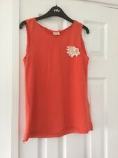 Zara Girl's Orange Sleeveless Top With Corsage Trim Age 11/12 Years