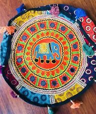 Bean Bag Pouf Cover Indian Patchwork Handmade Cotton Floor Footstool 40cm Maroon