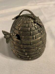 Godinger Silver Plated Beehive Honey Pot & Bee Dipper Serving Jar Glass Insert