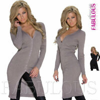 New Women's Long Knit Coat Cardigan Knitted Jacket Outerwear Size 6 8 10 XS S M