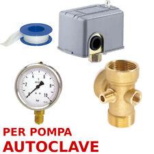 KIT SET AUTOCLAVE PRESSOSTATO POMPA RACCORDO 5 VIE con MANOMETRO 0 - 10 BAR